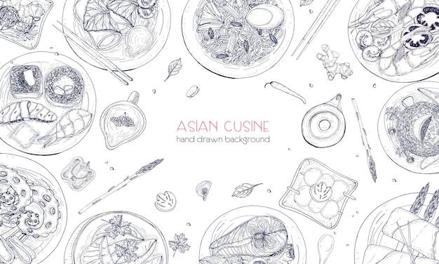 Elegant monochrome hand drawn background with traditional asian food, detailed tasty meals and snacks of oriental cuisine - wok noodles, sashimi, gyoza, fish and seafood dishes. illustration. Premium Vector