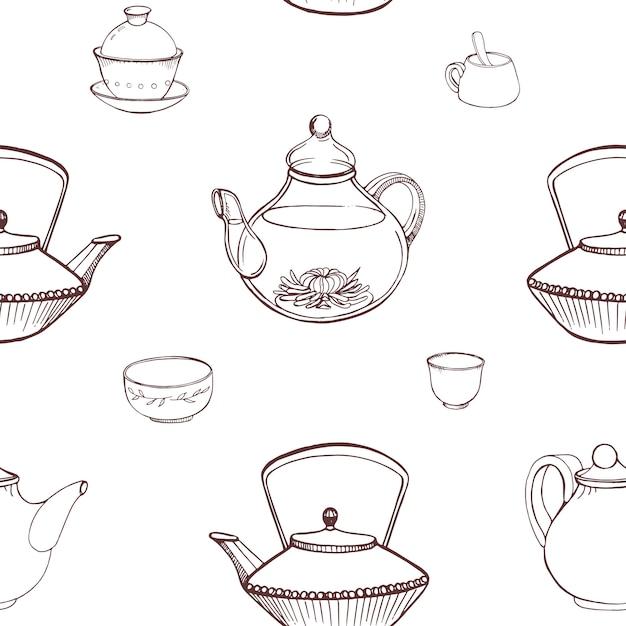 전통적인 일본 다도 도구 손으로 주전자, 컵 또는 그릇, Tetsubin 주전자 흰색 배경에 등고선으로 그린 우아한 흑백 원활한 패턴입니다. 삽화. 프리미엄 벡터
