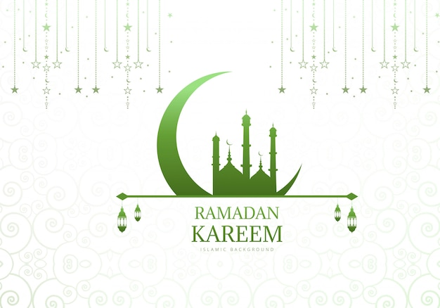Elegant moon with mosque ramadan kareem background Free Vector