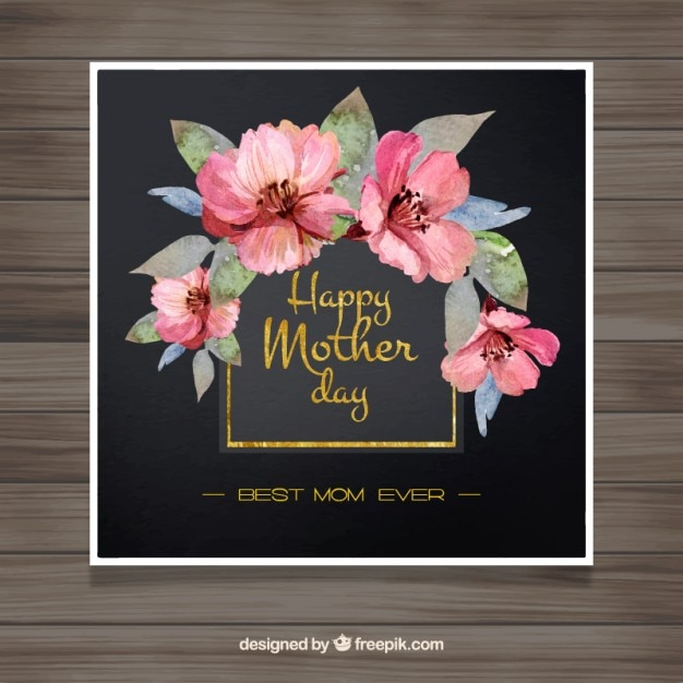 Elegant mother 39 s day card with watercolor pink flowers for Classy mothers day cards