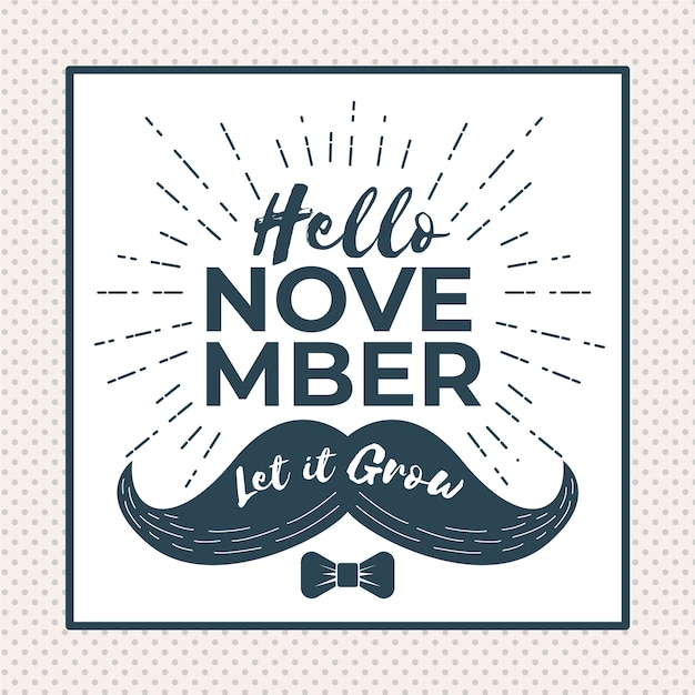 Elegant movember composition with vintage style Free Vector