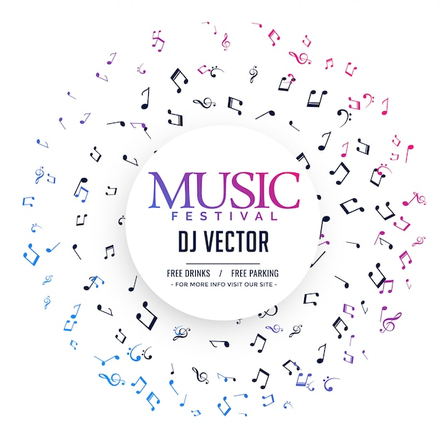Elegant music poster with notes Free Vector