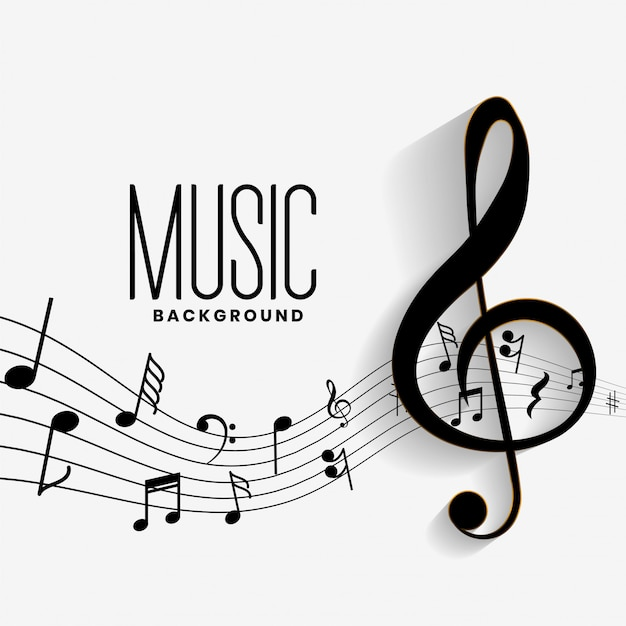 Elegant musical notes music chord background Free Vector
