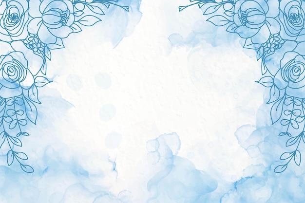 꽃과 우아한 네이비 블루 알코올 잉크 배경 무료 벡터