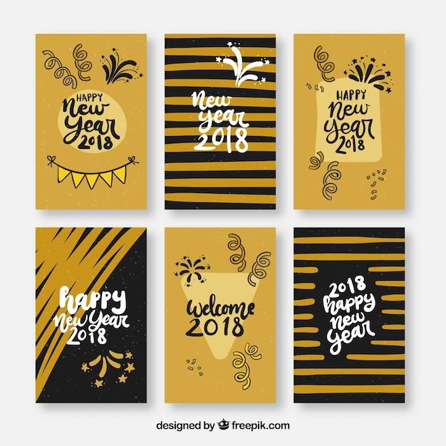 Elegant new year 2018 card packs
