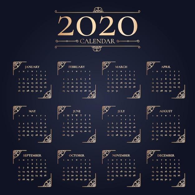 Elegant new year 2020 calendar Free Vector