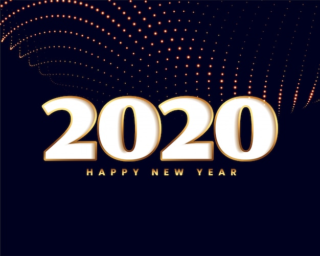 Elegant new year 2020  with golden particle wave Free Vector