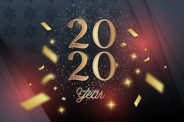 Elegant new year 2020 Free Vector