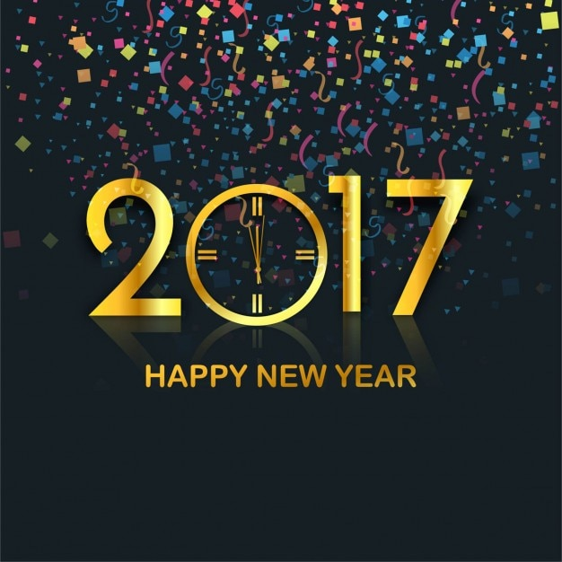 elegant new year background with colorful confetti and golden 2017 free vector