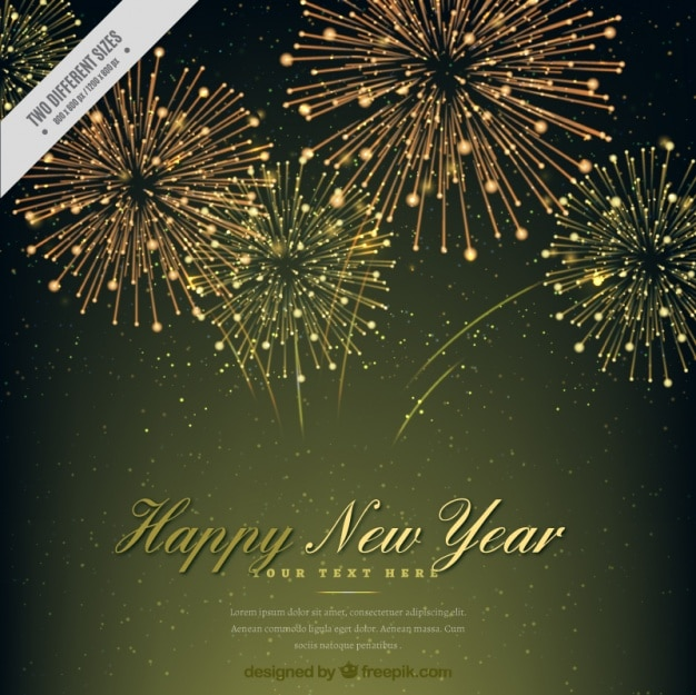 elegant new year background with golden fireworks free vector