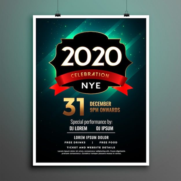 Elegant new year party flyer poster template design Free Vector