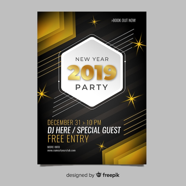elegant new year party flyer template free vector