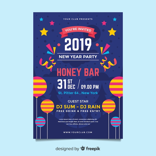 Elegant new year party poster template Free Vector