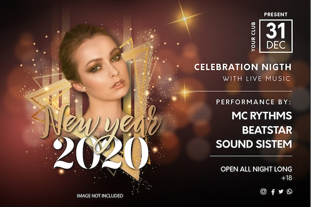 Elegant new year's eve party flyer template Free Vector