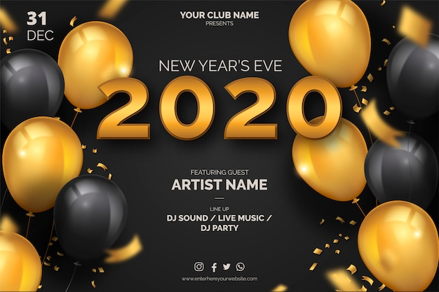Elegant new year's eve poster template Free Vector