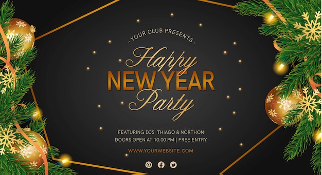 Elegant new year's party banner with realistic decortion Free Vector