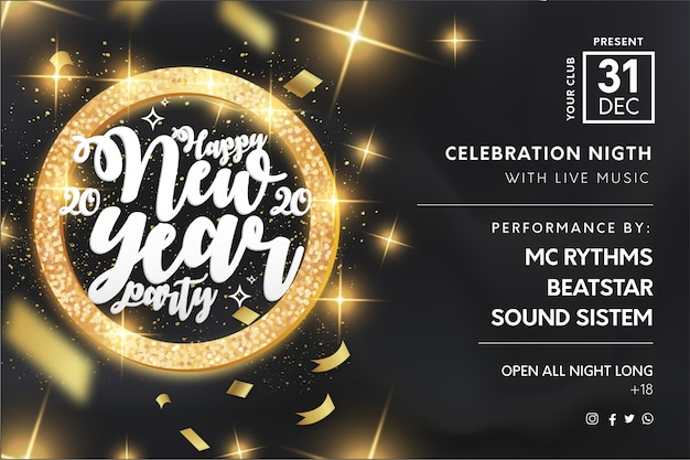 Elegant new year's party flyer template with golden frame Free Vector