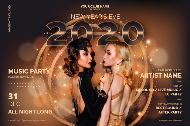 Elegant new year's party poster template Free Vector