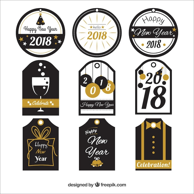 Elegant new year stickers 2018 collection