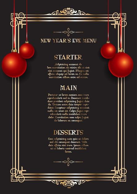 Elegante menu di capodanno Vettore gratuito