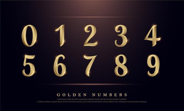 Elegant numbers gold colored metal chrome alphabet font ...