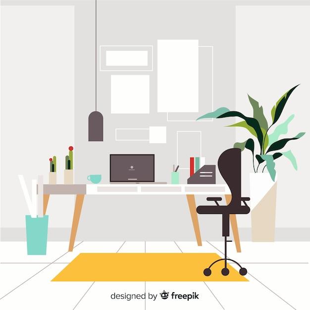 Elegant Office Interior With Flat Design