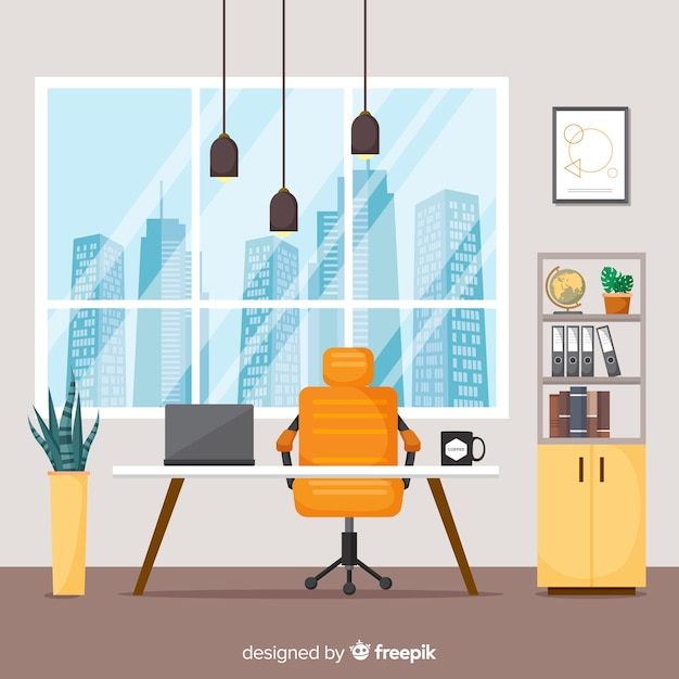 Elegant office interior with flat design Free Vector