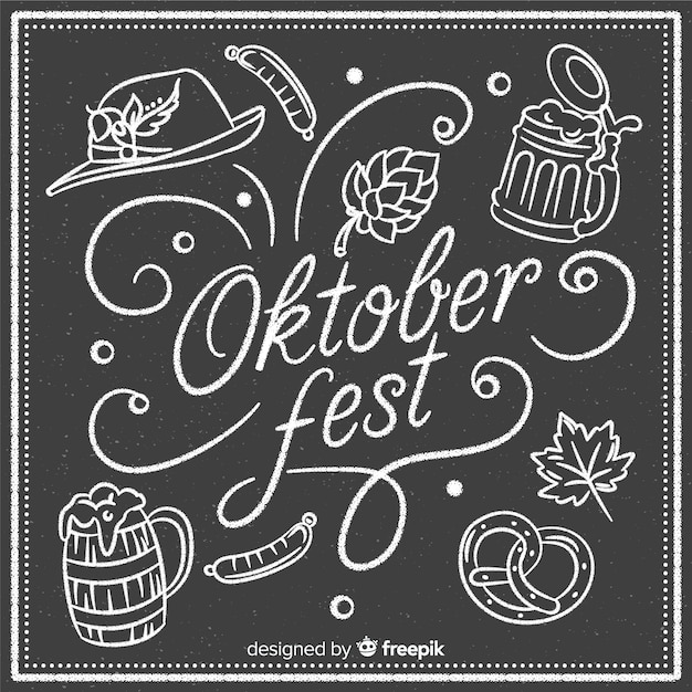 Elegant oktoberfest composition with blackboard style Free Vector