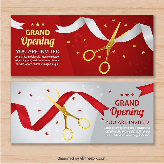 Elegant Opening Invitation With Realistic Style Vector