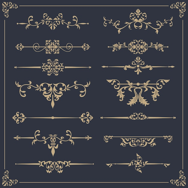 Elegant ornamental collection Free Vector