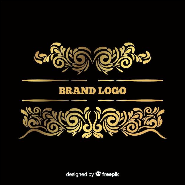 Элегантный декоративный логотип с большой полосой Бесплатные векторы