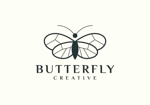 Elegant outline butterfly logo simple Premium Vector