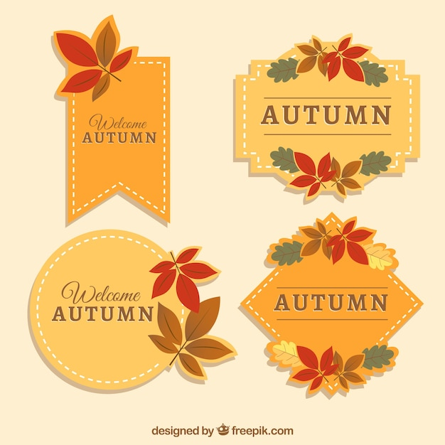 Elegant pack of autumn labels