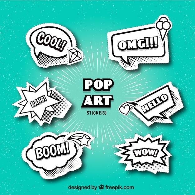 Elegant pack of comic stickers