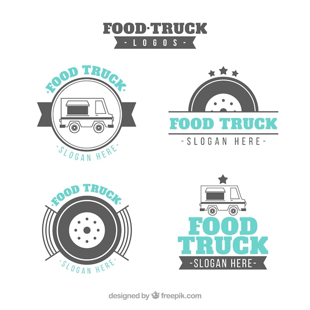 Elegant pack of food truck logos with classic style