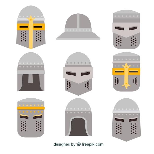 Elegant pack of medieval helmets