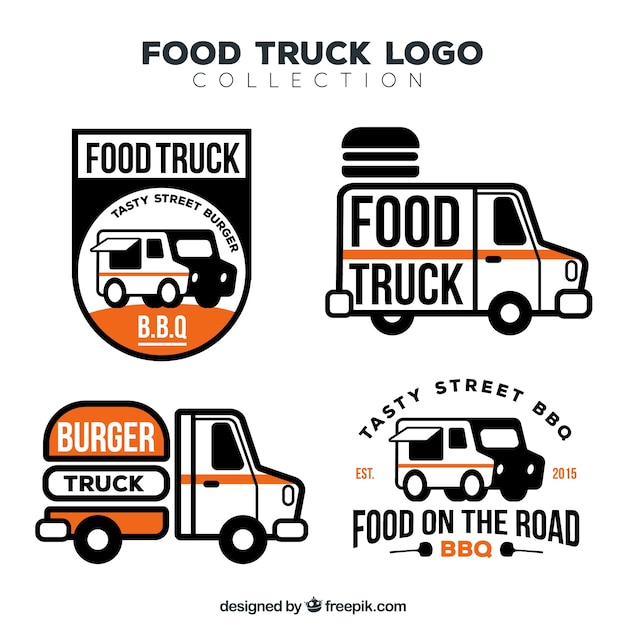 Elegant pack of modern food truck logos
