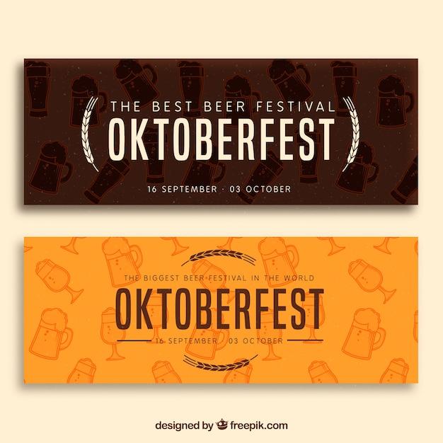 Elegant pack of modern oktoberfest banners