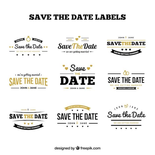 Elegant pack of retro wedding labels