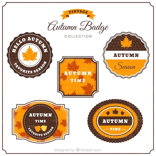 Elegant pack of vintage autumn badges