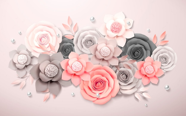 Elegant paper flowers boutique in grey and pink, 3d illustration Premium Vector