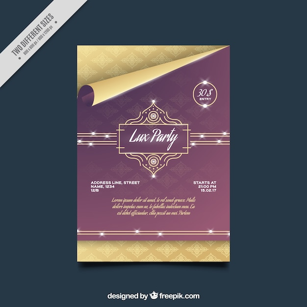 Elegant party brochure template vector free download for Elegant brochure templates