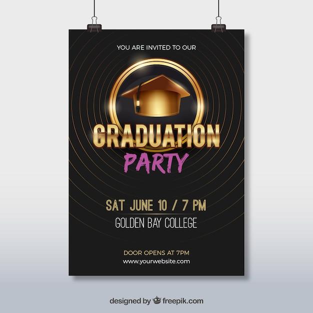 Elegant party brochure with graduation cap Free Vector