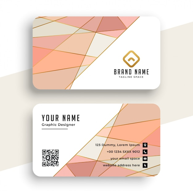 Elegant pastel color low poly business card Free Vector