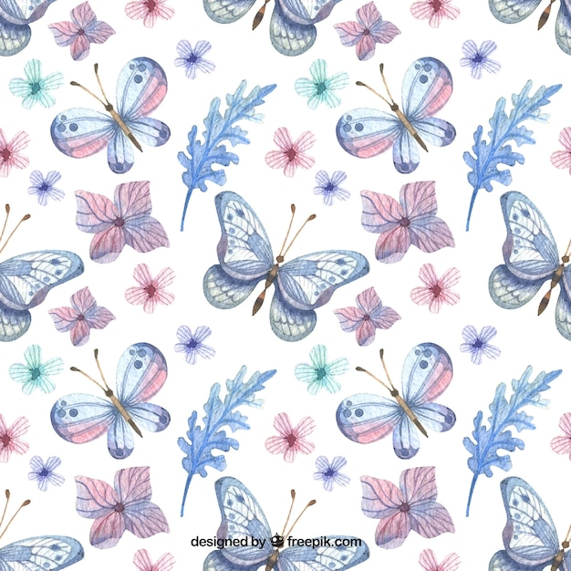 Elegant pattern of flowers and watercolor butterflies  Free Vector
