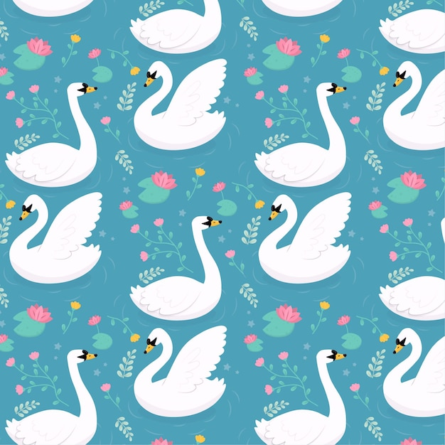 Elegant pattern with swans Free Vector