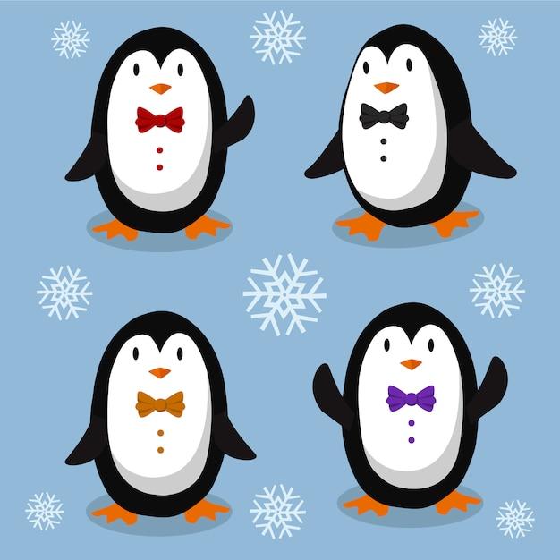 Elegant penguins Premium Vector