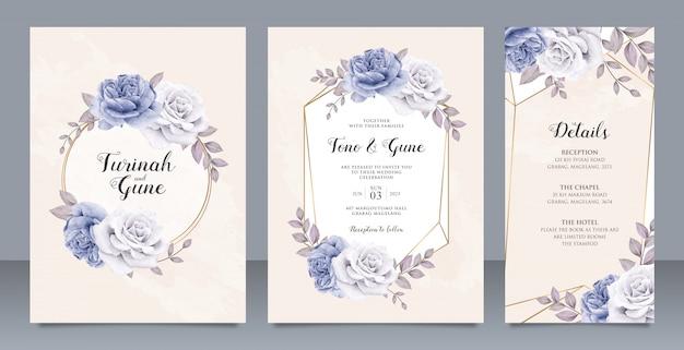 Elegant peonies flowers wedding invitation card set template design Premium Vector