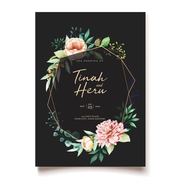 Elegant peonies wedding invitation design template Free Vector