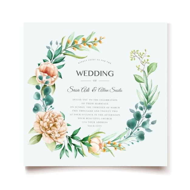 Элегантные пионы свадебные приглашения дизайн Бесплатные векторы